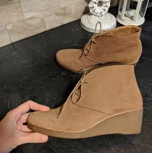 LUCKY BRAND LEATHER BROWN LACE UP ANKLE BOOTS